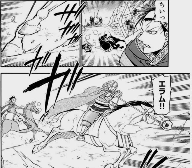画像: するとためらうことなく踵を返してエラムを救いに向かうアルスラーン!