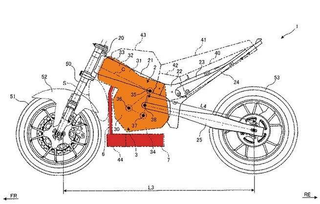 画像: こちらが出願された図です。オレンジ色の部分がエンジン、赤い部分が排気系です。 www.jpo.go.jp