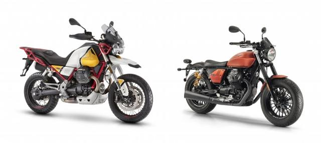 画像: V85 TT(左)、 V9 Bobber Sport(右)
