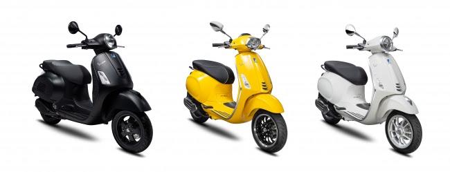 画像: GTS 300 Notte(左)、 Sprint 150(中)、 Primavera 150 S(右)