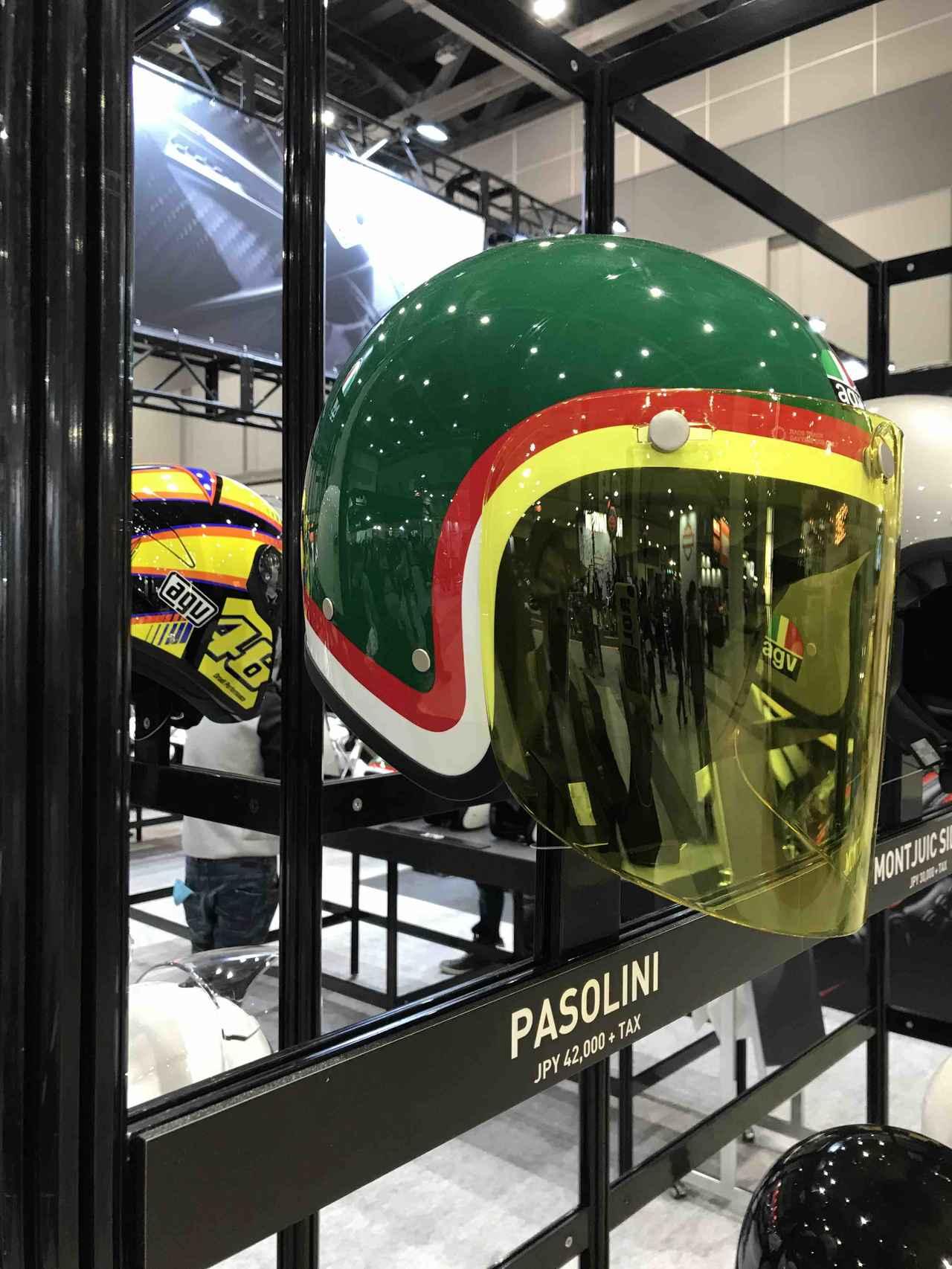 画像: こちらはイタリアの英雄、レンツォ・パゾリーニのレプリカです。イエローのシールドは、彼が愛用した一眼ゴグルのアイシールドカラーのインスパイアなんでしょうね。