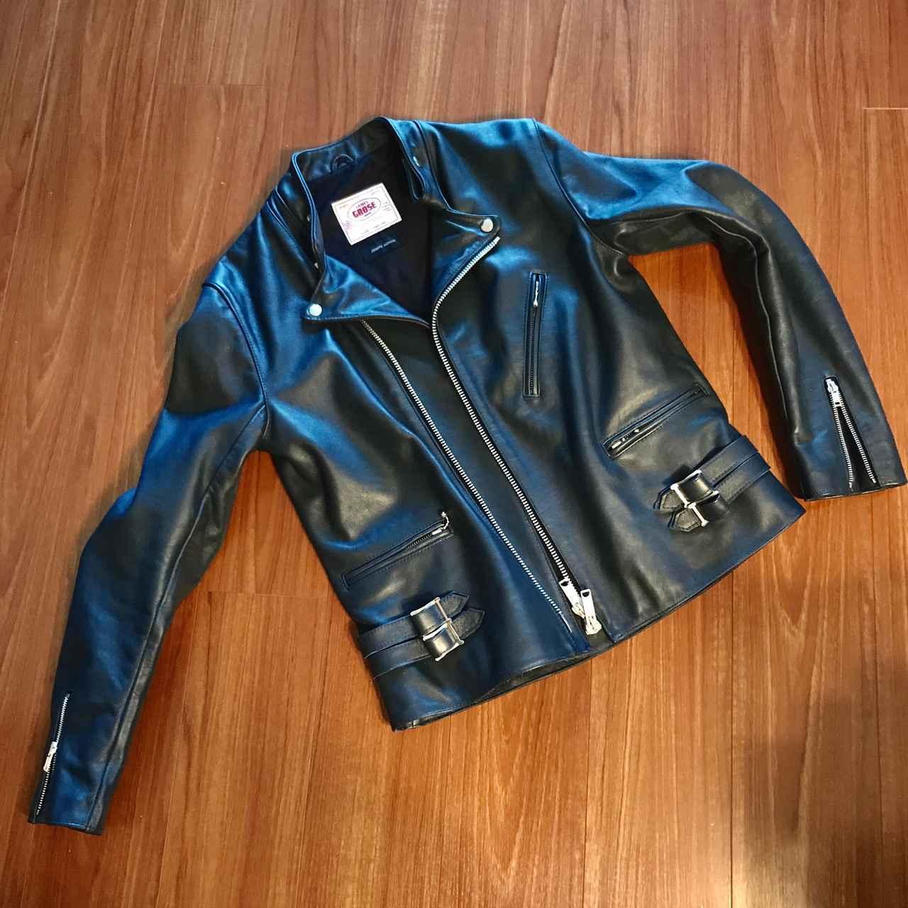 画像: NAVYカラーのJames Grose Kansan Jacket。普通は裏地はレッドだが、Josephの別注のためブラックにカスタマイズド。 lrnc.cc
