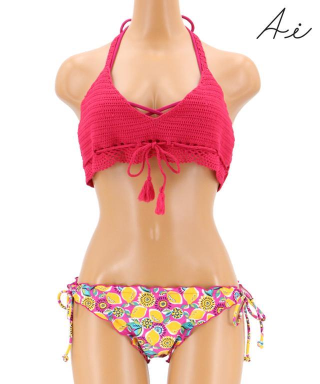 画像: 【AI Pink】Crochet×pop fruit クロシェトップ付ホルター 3点セット www.san-ai.com