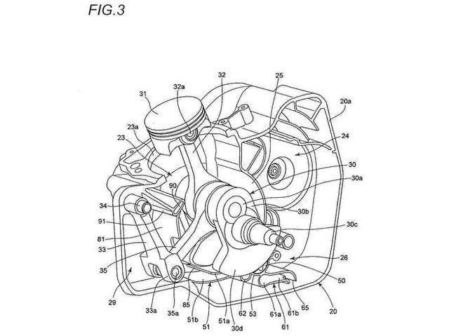 画像: ドゥカティ・スーパーモノは、Vツインの上側(後側)の気筒にあたる箇所をバランサーに使っていましたが、スズキの特許は下側(前側)の気筒をバランサーにしているワケですね。 www.cycleworld.com