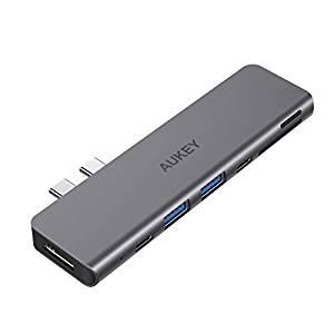 画像: Amazon | AUKEY USB Type C ハブ 7-in-1 マルチハブ Thunderbolt 3ポート搭載 40Gbps 高速データ転送 5K@60Hz 100W PD急速充電/USB-Cポート/4K HDMI/USB 3.0x2 /SD&MicroSD カードスロット ウルトラスリム 2年間安心保証 MacBookAir2018 MacBookPro2016/2017/2018に対応 CB-C76スペースグレイ | AUKEY | USBハブ 通販