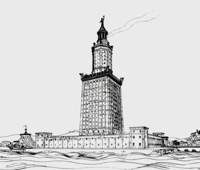 画像: こちらは高さ138mで、50km先から見ることができたと言われる、ファロス島の灯台のイラストです。 en.wikipedia.org