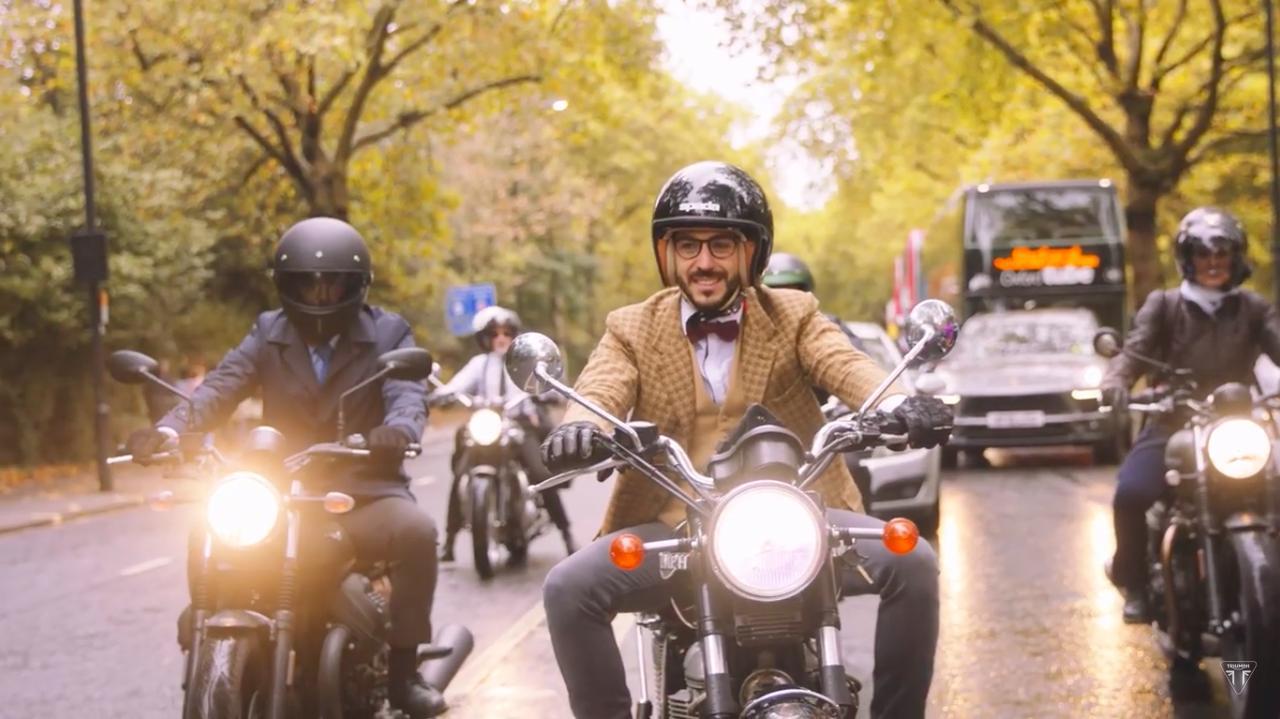 画像: モーターサイクルというと、モーターサイクルギャングのブラックレザーイメージがありますが、ジェントルマンズライドの世界観はその真逆のところにありますね。 www.youtube.com