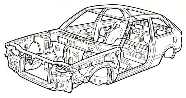 画像: クルマのモノコックの一例、1981年型ホンダ・アコードのモノコック。車体の外皮である鋼板が主要な骨格となっています。チューブラーのフレームを脊椎動物の骨格に例えるなら、モノコックはカブトムシなどの甲虫類みたいなカラダ・・・と言えるでしょうかね? www.honda.co.jp