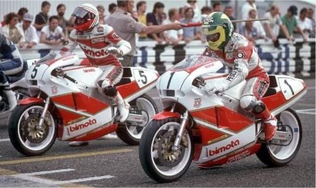 画像: 1987年、TT-F1世界王者になったV.フェラーリ(右)は、今回のビモータブランド買収に興味をもった人物のひとりだったそうです。しかし、カワサキが買収したことで、彼のプランは手遅れになった・・・とCYCLE WORLDの記事は伝えています・・・。 www.pinterest.jp