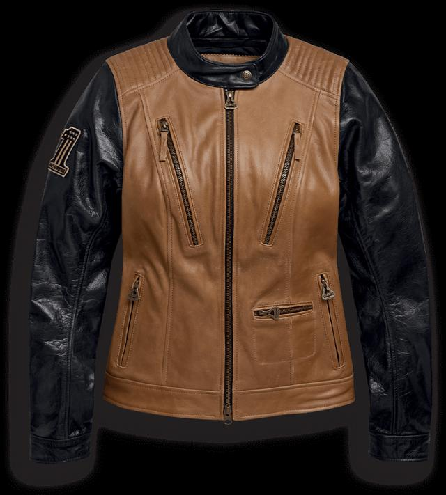 画像: アーテリアル・レザージャケット 象徴的な刺繍パッチが鮮烈な印象を与える、スタイリッシュなレディース用レザー製モーターサイクルジャケット。