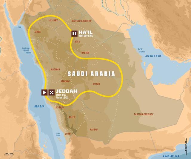 画像: ダカールラリー2021年大会のルート図。ビバーク地点は1部が2020年大会と同じにはなりますが、スペシャルステージは前年と異なる道と砂丘を使うとA.S.O.は発表しています。 www.dakar.com