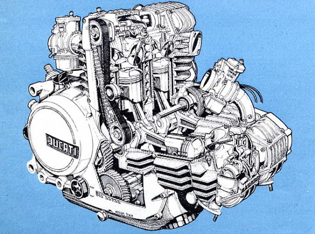 画像: 1982年試作の、パンタ系空冷V4エンジンのドローイング。2バルブ式・78 x 52mmのディメンションで、排気量は1,000cc。ベンチテストの出力は、105馬力と言われています。 ottonero.blogspot.com