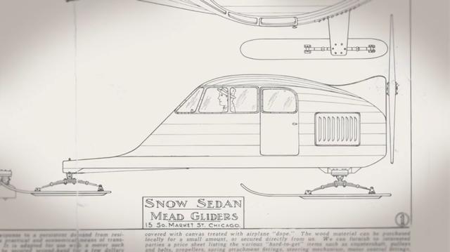 """画像: こちらは1930年代半ばにミード社が新製品として販売した、スノー・セダンの図です。シボレーやフォードA型のエンジンを搭載することが可能でした。この製品も、""""ブループリント""""販売から用意されていました。 www.youtube.com"""