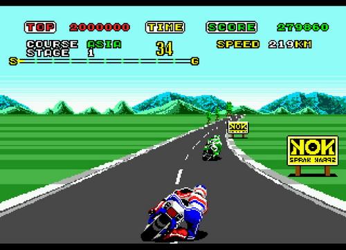 画像: もちろん「SUPER HANG-ON」はグラフィックも改良されています。ライダーのヘルメットは、フレディ・スペンサーをイメージしたものでしょうね? 199.101.98.242