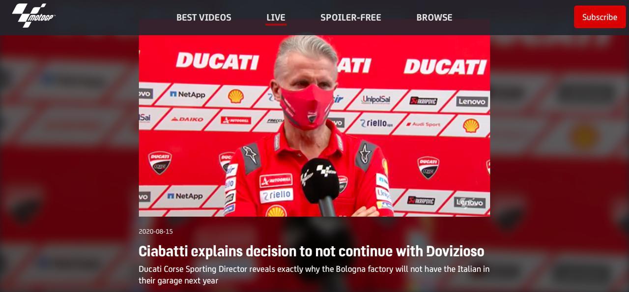画像: MotoGP公式サイトにアップロードされた、P.チャバッティのインタビュー。公式サイトのアカウントを所持している方は、閲覧が可能です。 www.motogp.com