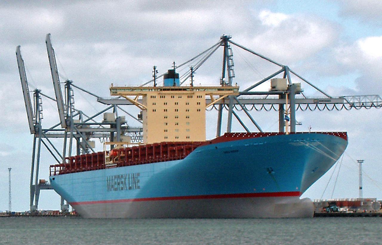 画像: バルチラ-スルザーRT-flex96Cを搭載する、デンマークのエマ・マースクのコンテナ船。英船籍の「CMA CGM マルコ・ポーロ」が2012年暮れに就航するまで、世界最大のコンテナ船でした。RT-flex96Cは、16,000個のコンテナを運ぶことができるパワーを発揮します! en.wikipedia.org