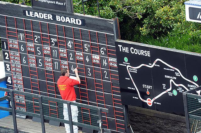 """画像: """"アイコニック""""なマン島TTコースの""""手書き""""スコアボードは、この島で行われてきたモータースポーツの伝統としてこれまで使い続けられてきました。なお現在のボード周辺のレイアウトは、1980年代に構築されたものを受け継いでいます。 www.bennetts.co.uk"""