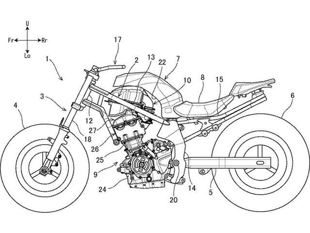 画像: パテント申請された、スズキの2気筒700ccの図版。スイングアームピボット/リアエンジンハンガー、そしてパイプのメインフレーム/シートレールというダイヤモンド型フレームの構成は、コストを意識したミドルクラスのスポーツバイクとして、すぐに商品化ができそうな作りと思えます。 www.cycleworld.com