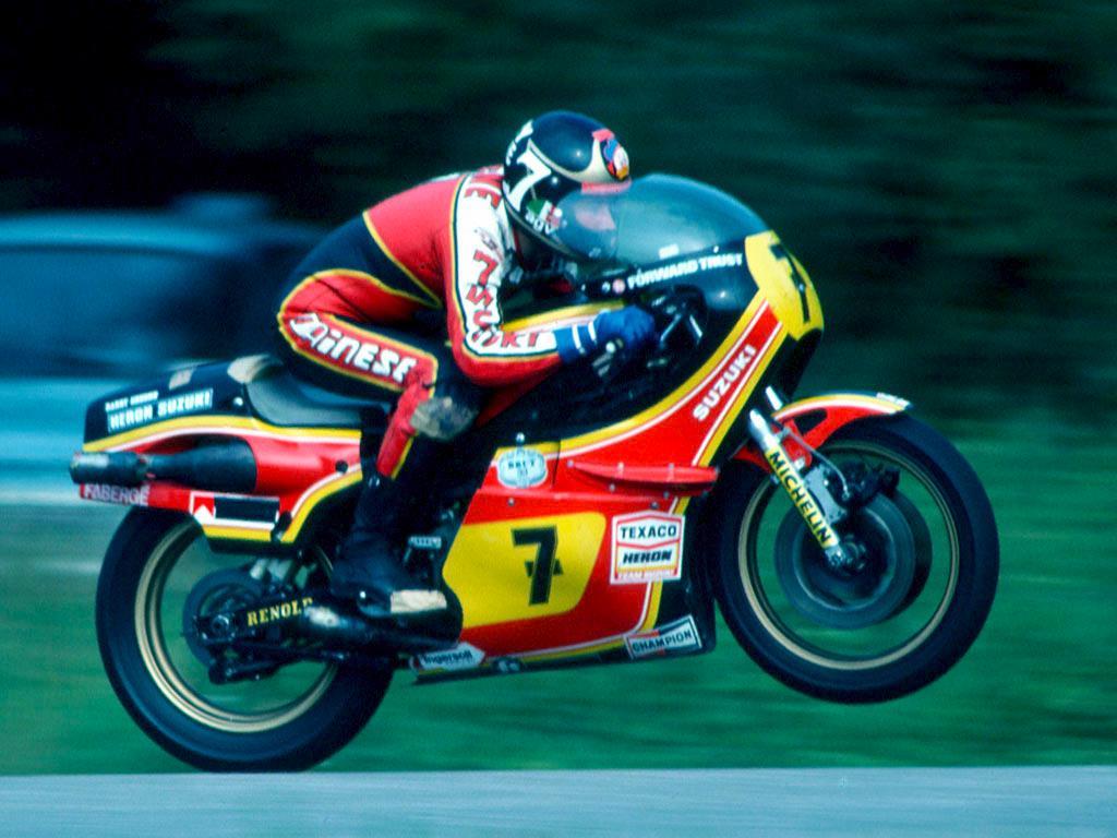 画像: 英国の英雄、B.シーン。1970〜1984年までGPで活躍。GP通算23勝のうち、21勝(125cc3勝、500cc18勝)はスズキ車で得たものでした。 www.acu.org.uk
