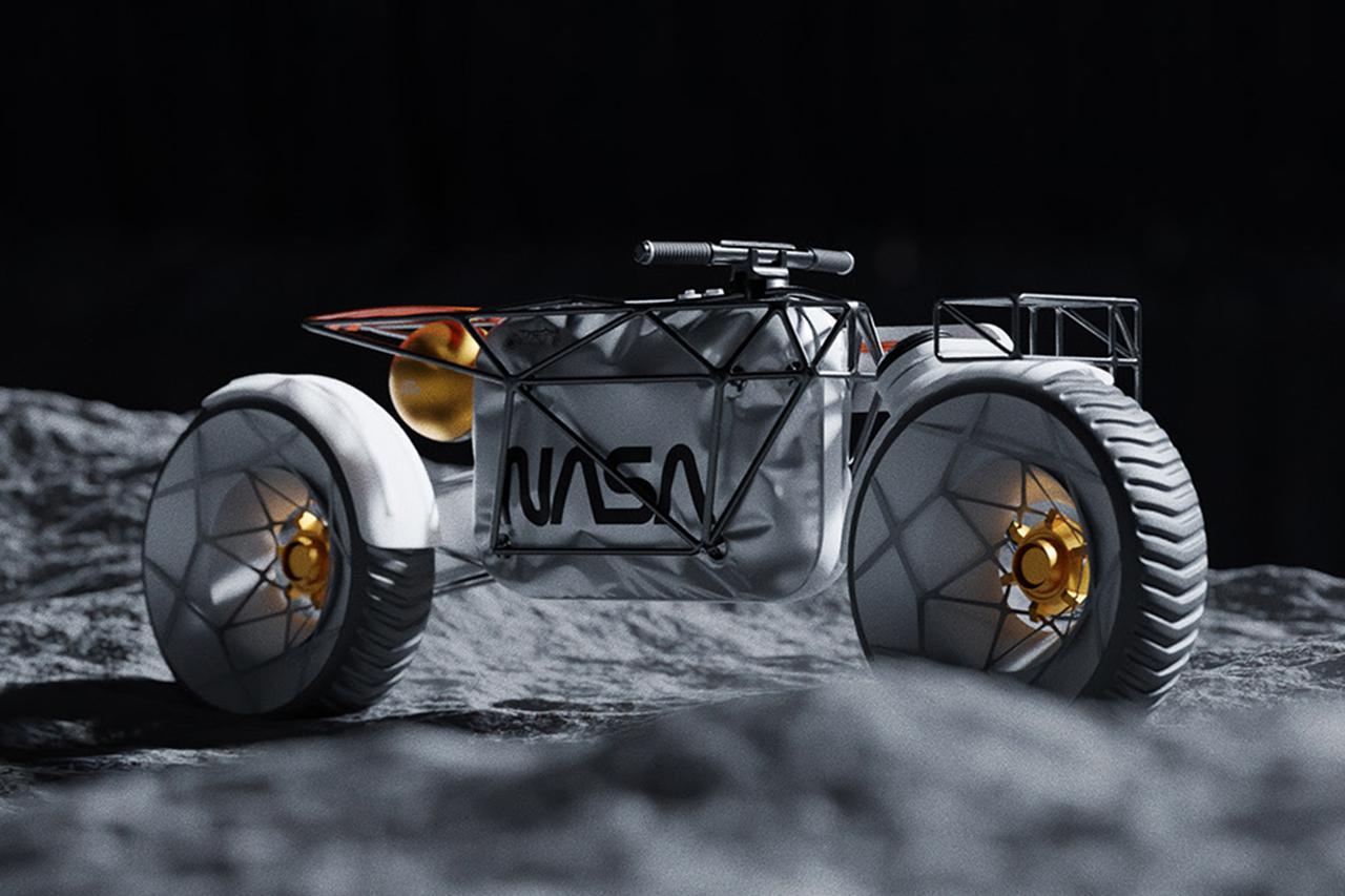 画像: NASAモーターサイクルの懸架装置は、前後ともに片持ちタイプ。フレームは鋼管トラスタイプです。 www.behance.net
