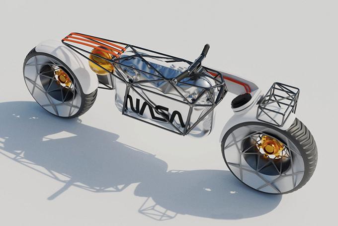 画像: 前輪・後輪を駆動する2WD方式を採用。フレーム後部のストラップとその下の球体が、いわゆるサドルの役目をするとのことです・・・。 www.behance.net