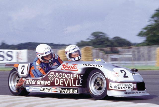 画像: R.ビランド/K.ウイリアムズ組のBEO。当時28歳のビランドは1974年から参戦を開始し、サイドカークラスが世界ロードレース選手権のステイタスを保っていた最後の年の1996年まで活躍した名選手です。BEOに乗り1978年王者になったビランドは、その後1979年(B2A)、1981年、1983年、1992年、1993年、1994年と合計7度タイトルを獲得。そして通算81勝という大記録を打ち立てた、偉大なスイス人です。 www.pinterest.co.uk