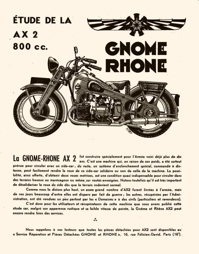画像: ノーム-ローヌのAX2のカタログ。翼と星型エンジンのマークが、航空機エンジンメーカーがルーツであることを雄弁にアピールしています。 encoreplus.chez-alice.fr