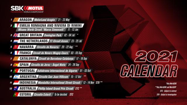 画像: 改訂されたSBKカレンダー。ちなみに鈴鹿8耐は7月15日~18日に開催される予定ですが、7月上旬には英国ラウンド、7月下旬にはオランダラウンドが開催されます・・・。 www.worldsbk.com