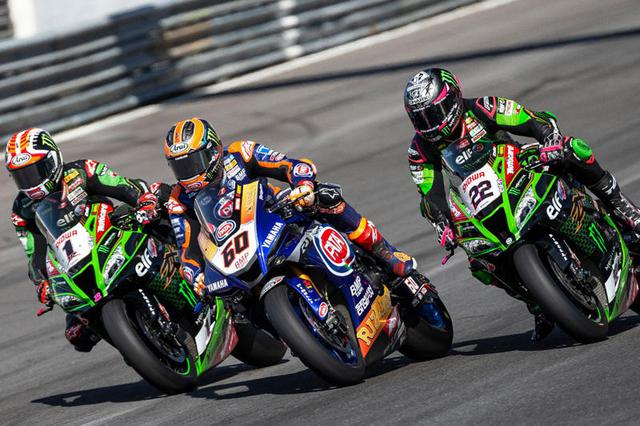 画像: 2020年、シーズン最終戦となったエストリルラウンドの1シーン。左からジョナサン・レイ(カワサキ)、マイケル・ファン・デル・マーク(ヤマハ)、アレックス・ロウズ(カワサキ)。現時点では未定ですが、2021年シーズンもエストリルが最終戦となる日程に入ることになるかもしれません? race.yamaha-motor.co.jp