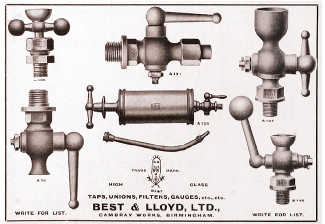 """画像: ベスト&ロイドの当時の広告に描かれた、フューエルタップなどのイラスト。例の""""アレ""""も、ちゃんと登場しております。 bestandlloyd.com"""