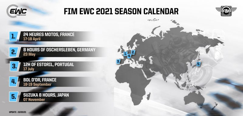 画像: 新しいFIM EWCの2021年シーズンのカレンダー。1〜4戦はすべて欧州大陸で行い、フライアウェイとなる鈴鹿8耐は最終第5戦になっています。 www.fimewc.com