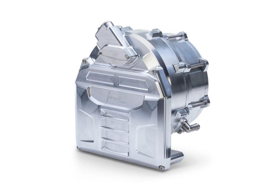 画像: インテグラル・パワートレイン社のe-ドライブ部門が開発した、トライアンフTE-1用モーター。液冷モーターとインバータが統合された構造で、重量はわずか16kgにおさまっています。なおピーク電力は130kW≒176.75psです! integralp.com