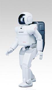 画像: 2000年型のASIMO(アシモ)。長時間駆動が可能な燃料電池は、リチウムイオン電池よりもロボット用の電源として将来性があると考えられています。 www.honda.co.jp