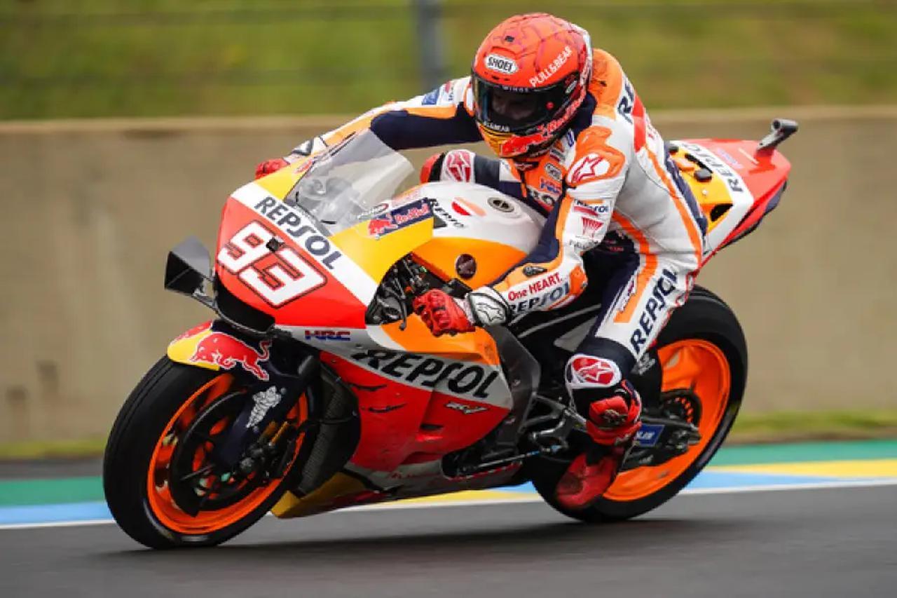 画像: 一時首位を走行したM.マルケス(ホンダ)。 honda.racing