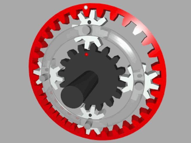 画像: 遊星ギアのアニメーション。減速され、内側(黒)と外側(赤)に速度差が生じます。 de.wikipedia.org