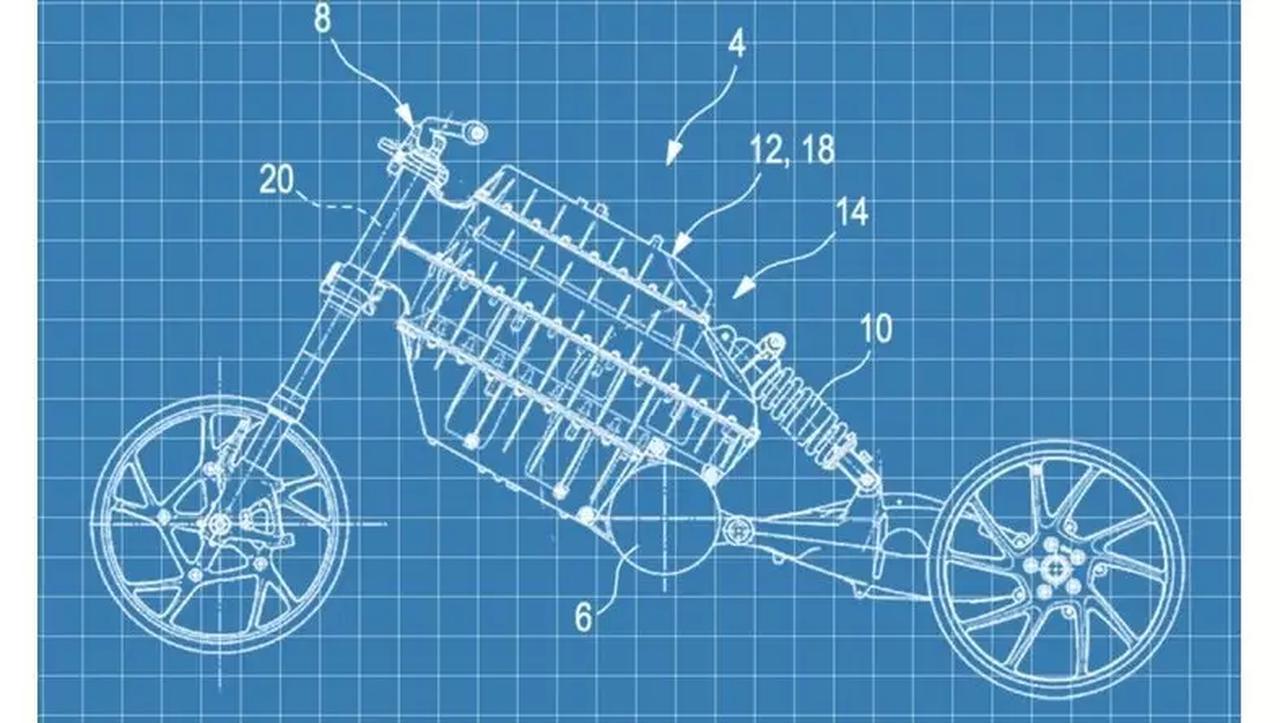 画像: 2019年に明らかになった、出力軸「横置き」のBMW2輪EVのパテント図。 www.bmw-motorrad.com