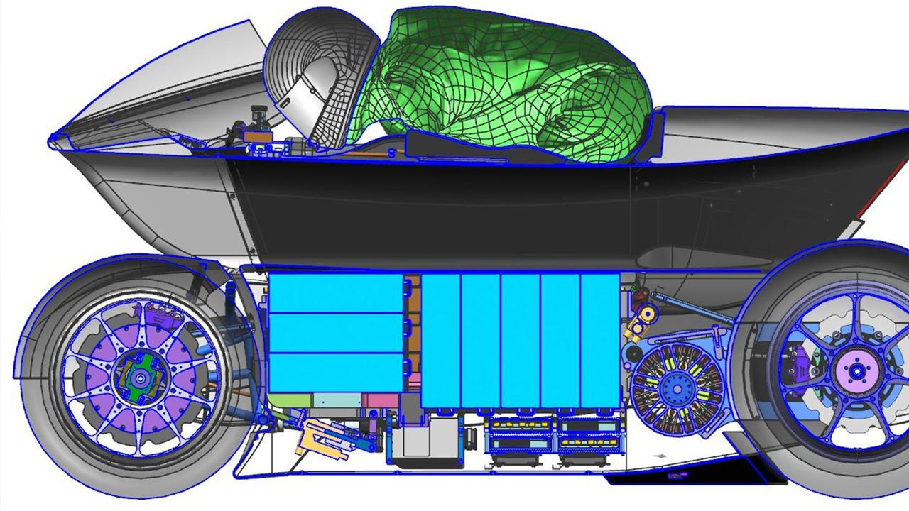 画像: WMC250EVの構造図。車体中央の黒い箇所が、V-AIRというトンネル部です。 whitemotorcycleconcepts.com