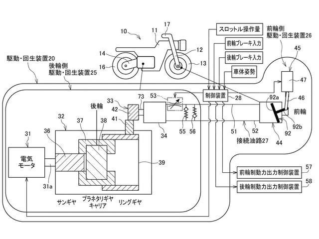 画像: ホンダのパテントの図説。前輪側の駆動・回生装置と、後輪側の駆動・回生装置は、オイルライン=接続油路を介して結ばれています。 www.jpo.go.jp