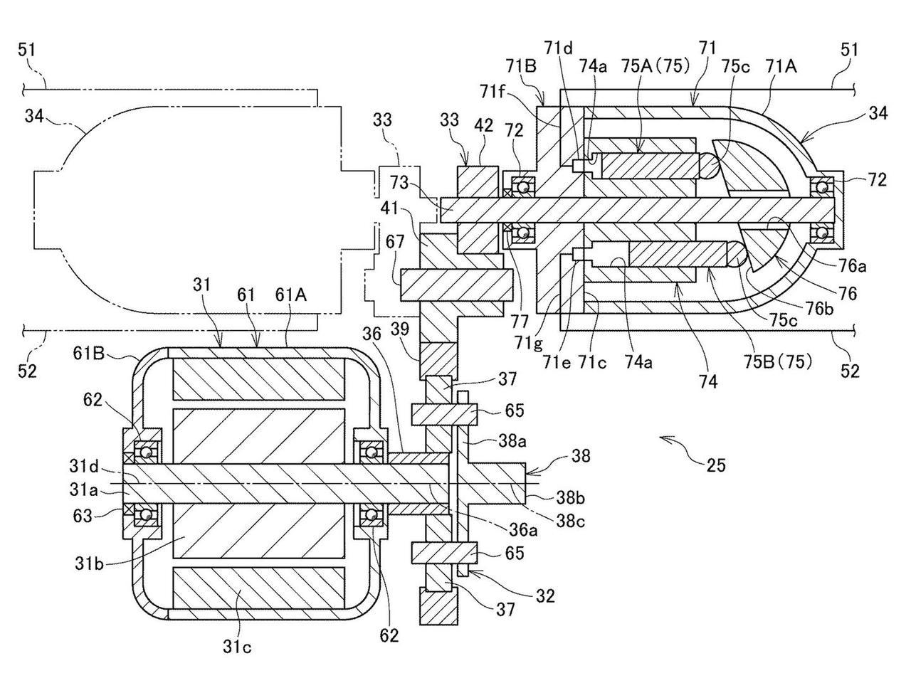 画像: 前輪ハブの油圧ポンプ/モーターとホースで結ばれる車体側の油圧ポンプ/モーターは、遊星ギアを介して電気モーターにつながっています。 www.jpo.go.jp