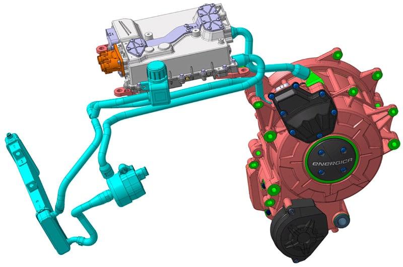 画像: EMCEモーターは、モーター部とインバーター部を同経路で液冷。必要とするトルク、モーター回転数、システム動作モード、温度などの各種要素から最適な制御パラメーターを選択する、アダプティヴ・コントロール(適応制御)を可能としています。 www.energicamotor.com