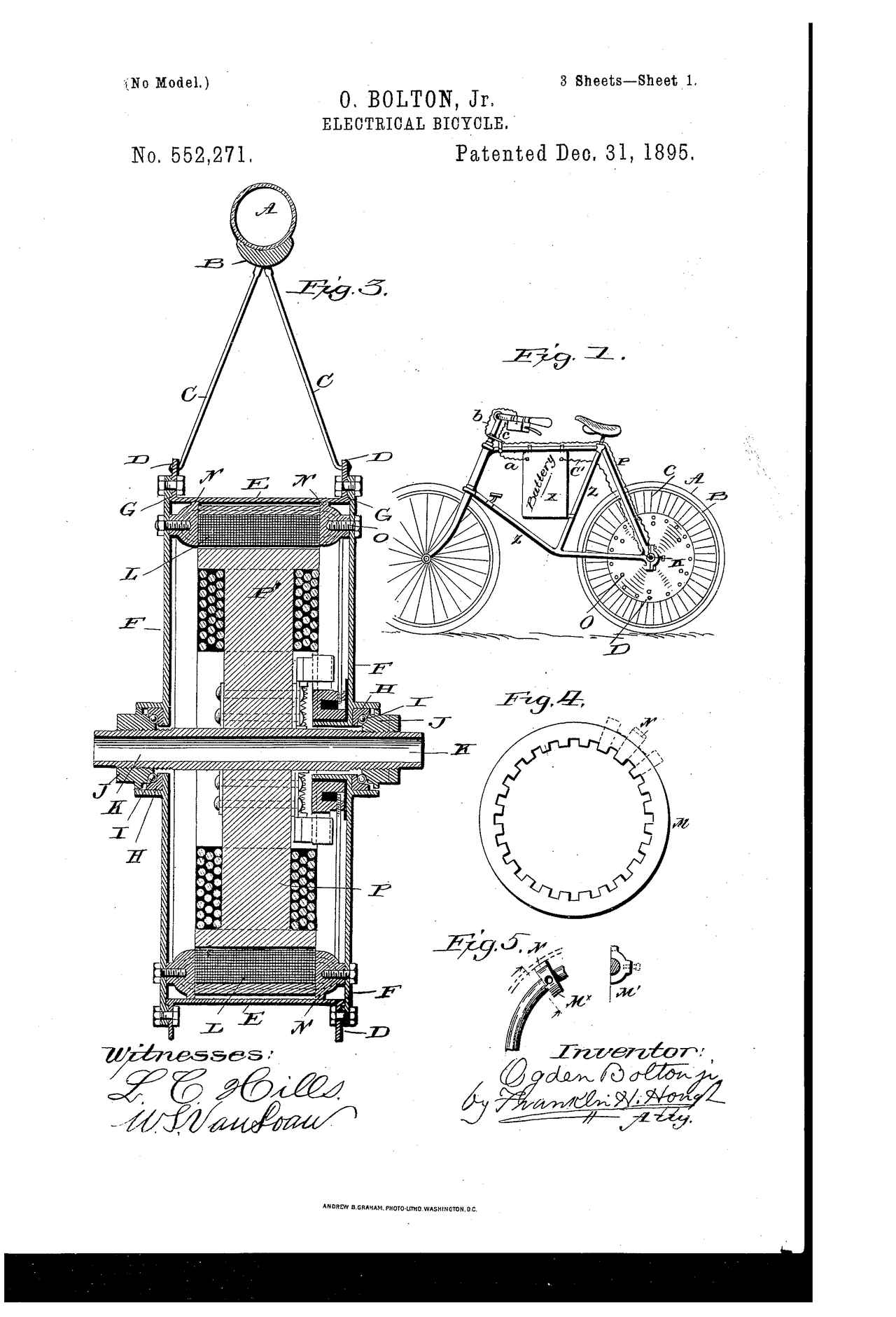 画像: O.ボルトン Jr.考案のエレクトリカル・バイシクルの図。フレームに10Vバッテリーを吊り下げ、後輪のハブモーターを駆動するレイアウトでした。乗り手の脚力に頼ることは考えなかったようで、自転車でおなじみのペダル、クランク、BB、ギア、そして駆動チェーンは採用していません。 patents.google.com