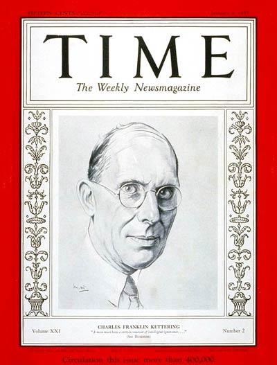 画像: 1933年、雑誌「タイム」の表紙となったチャールズ・ケタリング。セルスターター自体は19世紀末に発明済みでしたが、彼が1911年に生み出した高トルク型セルモーターを組み込んだ1912年型キャディラックから、一気にこのシステムは普及していくことになりました。 en.wikipedia.org