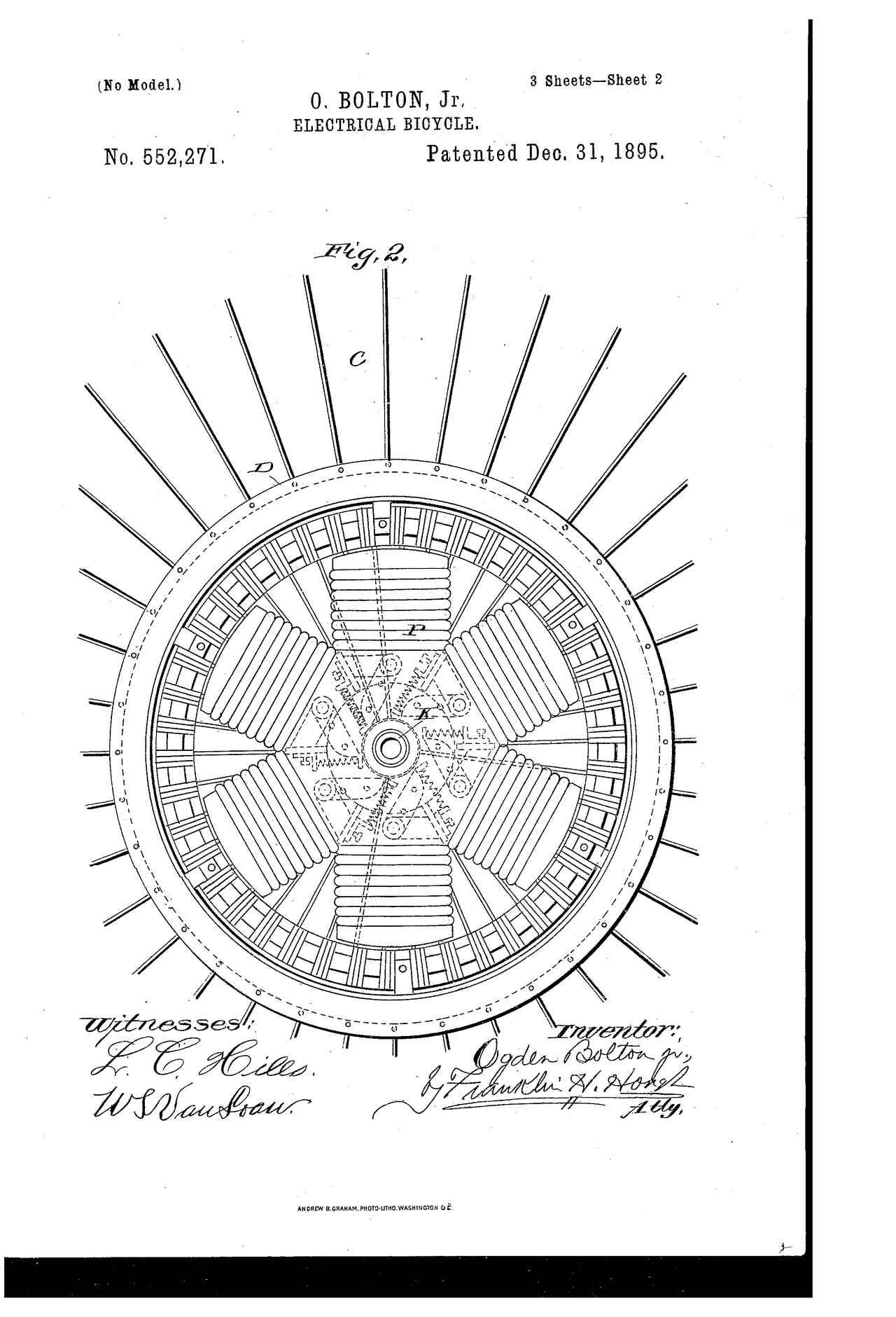 画像: ハブモーターは6極の直流式。最大100Ahの電流をバッテリーから供給する・・・ということです。 patents.google.com
