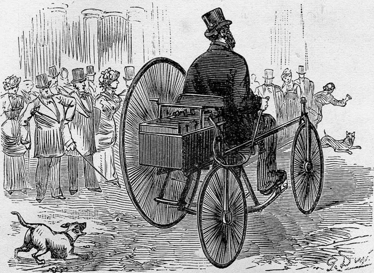 画像: G.トルーヴェの電動3輪車。ドイツのシーメンス社から購入した電動モーターを、英国のジェームズ・スターレー製3輪車にバッテリーとともに搭載。1881年4月19日にフランス・パリのヴァロワ通りでテスト走行を行ったと記録されています。ICEを搭載するリートワーゲンより、ちょっと早くEVは完成していたわけです。 en.wikipedia.org