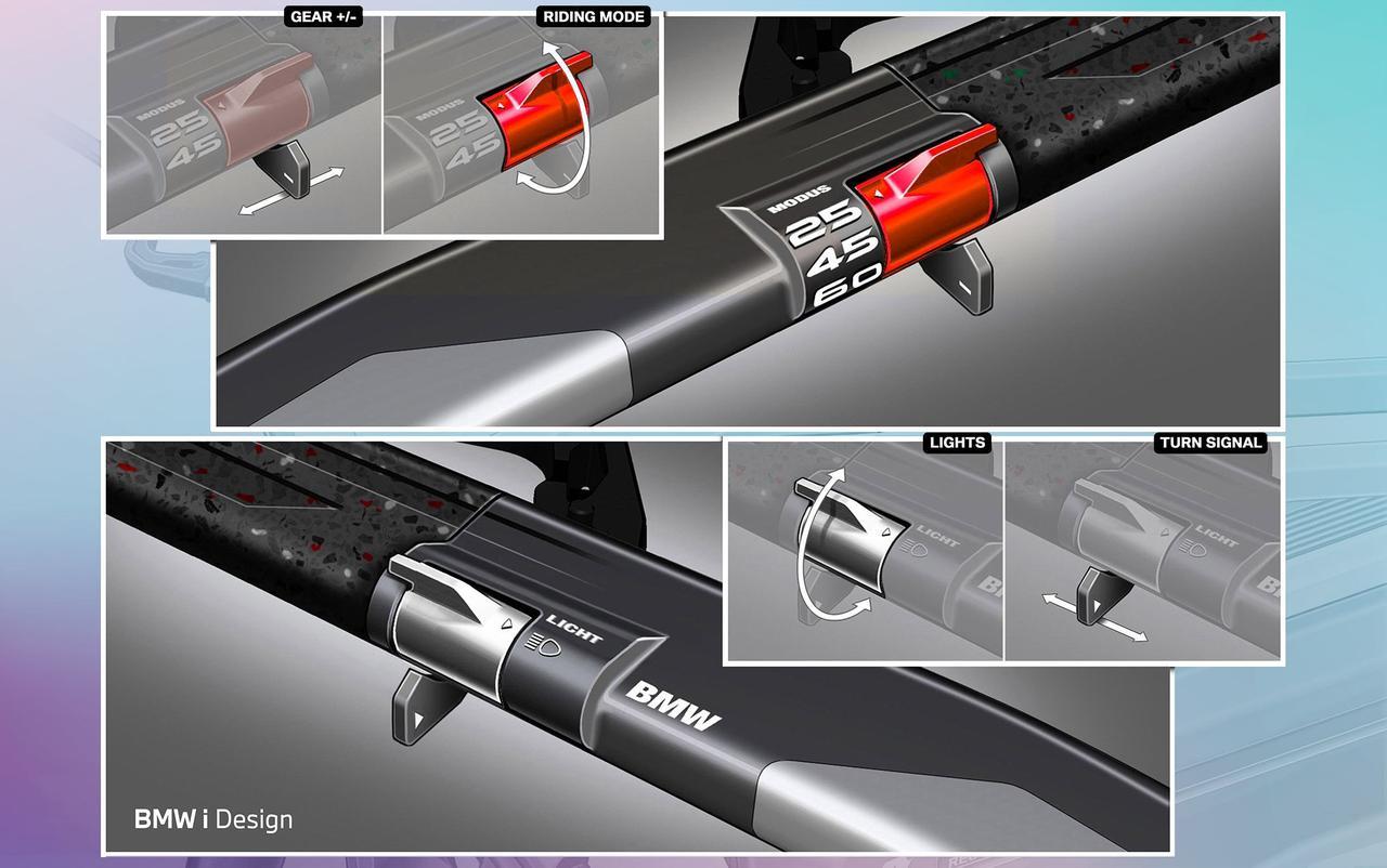画像: ライディングモードは、右手側ハンドルスイッチで切り替えすることも可能。その下にはギアシフト用レバーが付いています。左側にはライトとターンシグナルのスイッチが備わっています。 www.bmw-motorrad.com