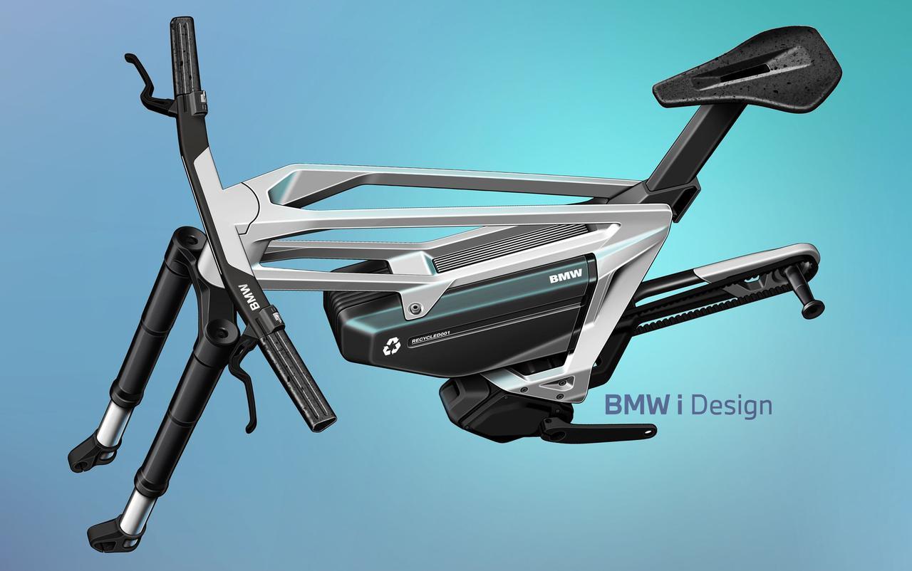 画像: iヴィジョン アンビィのリアスイングアームは片持ち式。リアホイールの脱着が簡単になるように、採用された機構です。前後のサスペンショントラベルは120mmを確保しています。フレームと一体化したようなハンドルステムのデザインが、個性的な外観を生み出すことに貢献しています。 www.bmw-motorrad.com