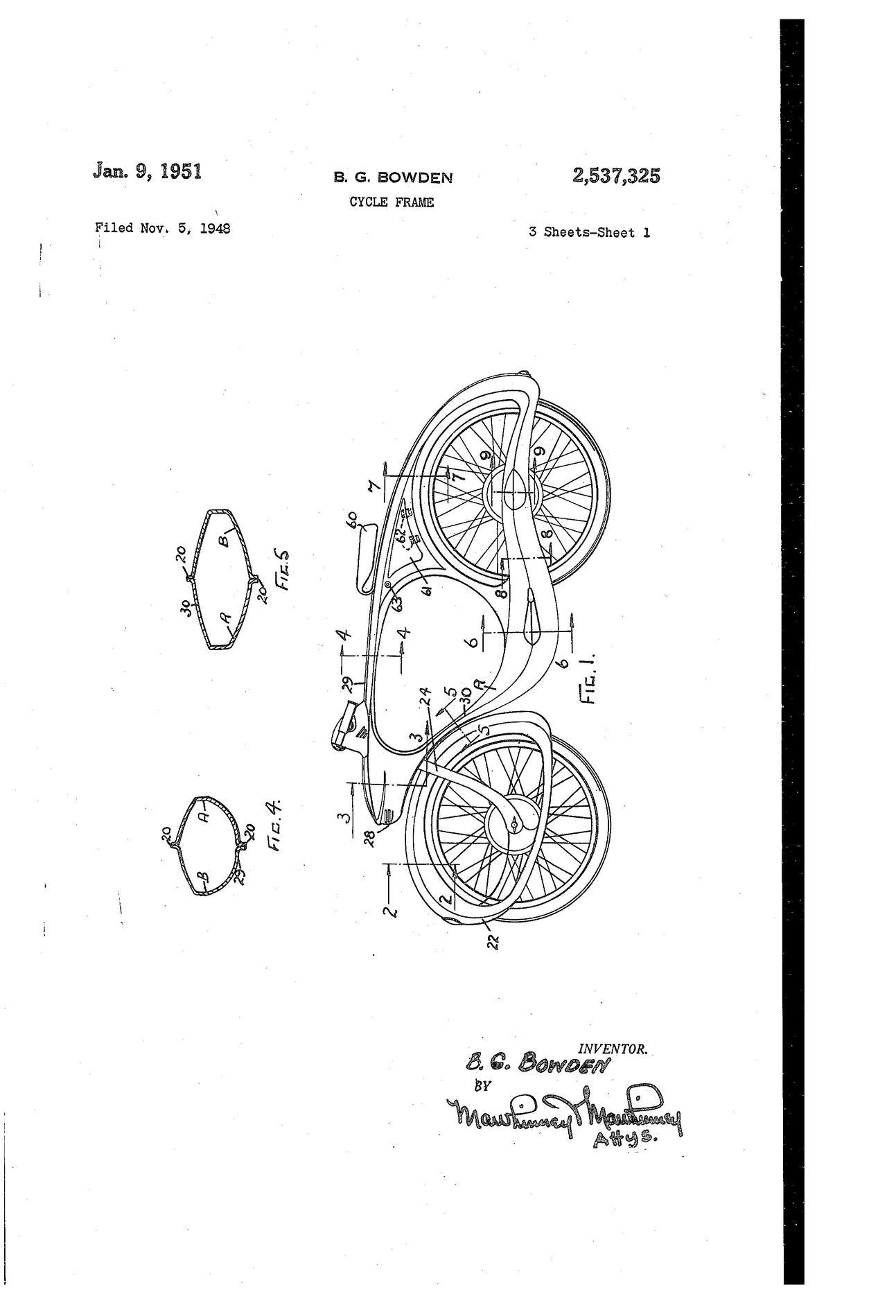 画像: 1946年にB.ボウデンが取得した特許の図。中空フレームの中にはバッテリーが収まり、ライト、ホーン、そしてラジオ!! に電力を供給しています。なおシート下には、インフレーター(空気ポンプ)や工具を収納することができました。 patents.google.com