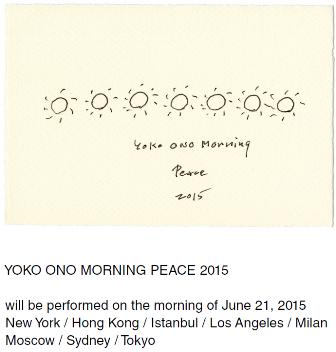 画像: 夏至の前日、日の出とともに。オノ・ヨーコ《モーニング・ピース2015》が全世界で開催:東京都現代美術館
