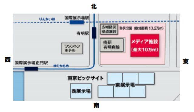 画像: 日本展示会協会 公式声明文より/建設場所と規模 www.nittenkyo.ne.jp