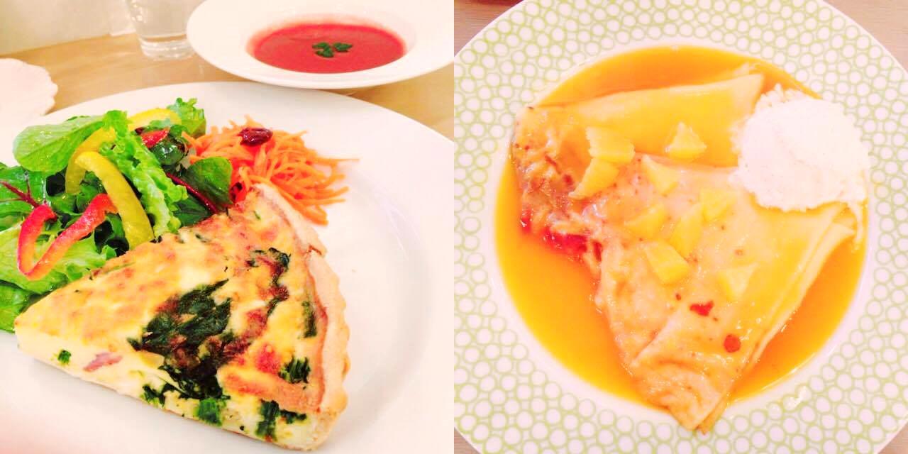 画像: キッシュのセットとクレープシュゼット・・・食器もかわいい。